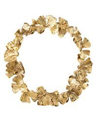 Aurelie Bidermann - Metallic Ginkgo Leaves Necklace - Lyst