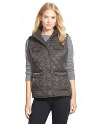 Vince Camuto | Gray Quilted Field Vest | Lyst