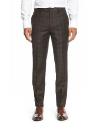 Ted Baker | Brown 'yonktro' Check Wool Trousers for Men | Lyst