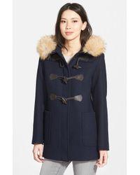 Pendleton - Blue 'berkley' Wool Blend Twill Duffle Coat With Genuine Coyote Fur Trim - Lyst