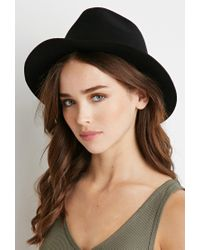 Forever 21 - Black Raw-cut Brim Fedora You've Been Added To The Waitlist - Lyst