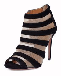 Aquazzura - Black Wild Side Suede and Mesh Sandals - Lyst