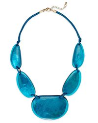 Style & Co. | Style&co. Gold-tone Blue Resin Necklace | Lyst