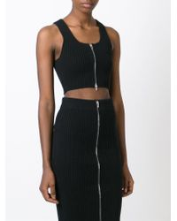 T By Alexander Wang | Black Ribbed Knit Cropped Top | Lyst