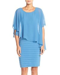Adrianna Papell | Blue Chiffon-Overlay Sheath Dress | Lyst
