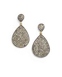 Bavna - Metallic 2.88 Tcw Diamond, Sterling Silver & 18K Yellow Gold Teardrop Earrings - Lyst