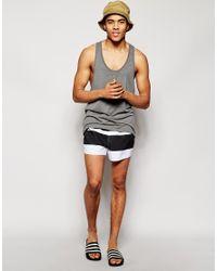 ASOS - White Swim Shorts In Short Length With Stripe for Men - Lyst