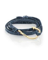 Miansai | Blue Anchor Alligator Leather Bracelet for Men | Lyst