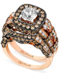 Le Vian - Metallic White Diamond (1-3/8 Ct. T.w.) And Chocolate Diamond (2-1/5 Ct. T.w.) Engagement Ring Set In 14k Rose Gold - Lyst