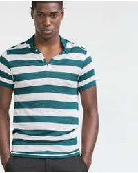 Zara | Green Striped Polo Shirt for Men | Lyst