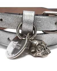 Alexander McQueen - Metallic Leather Double Wrap Skull Bracelet - Lyst