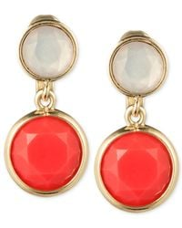 Anne Klein - Metallic Gold-Tone Coral And Opaque Stone Clip-On Drop Earrings - Lyst