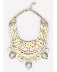 Bebe - White Pearlescent Bib Necklace - Lyst