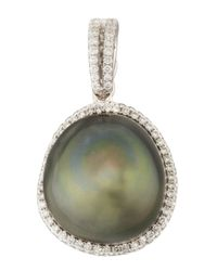 Eli Jewels - Green Gray South Sea Pearl And Diamond Halo Pendant - Lyst