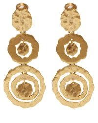 Oscar de la Renta - Metallic Gold-Tone Circle Drop Clip-On Earrings - Lyst