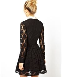 ASOS | Black Lace Skater Dress With Collar | Lyst