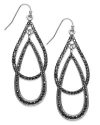 INC International Concepts | Metallic Rhodium-tone Double Pavé Teardrop Earrings | Lyst