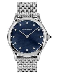 Emporio Armani - Blue Emporio Armani Diamond Dial Bracelet Watch for Men - Lyst