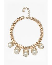 French Connection | Metallic Faux Pearl Pendant Necklace | Lyst