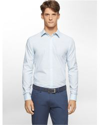 Calvin Klein | Blue White Label Classic Fit Cool Tech Mini Check Poplin Shirt for Men | Lyst
