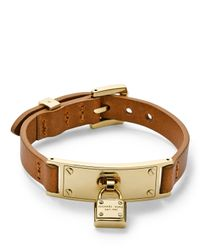 Michael Kors | Brown Leather Belt Bracelet Goldenluggage | Lyst