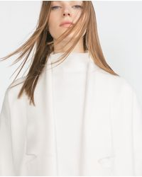 Zara | White Long Coat With Draped Neck | Lyst