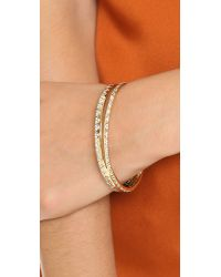 House of Harlow 1960 - Metallic Outland Split Bangle Bracelet - Gold/clear - Lyst