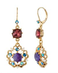 Betsey Johnson | Purple Antique Gold-plated Floral Drop Earrings | Lyst