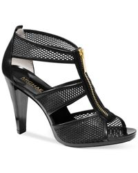 Michael Kors - Black Michael Berkley T-strap Sandals - Lyst