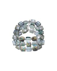 Antica Murrina | Gray Atelier Byzantium - Grey Murano Glass & Silver Leaf Stretch Bracelet | Lyst