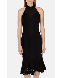Karen Millen - Black Floral Cutwork Fishtail Dress - Lyst