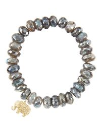 Sydney Evan | Pink 10mm Labradorite Bead Bracelet With Diamond Elephant Charm | Lyst
