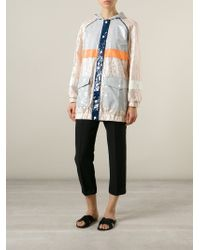 MSGM - Natural Colour Block Lace Hooded Raincoat - Lyst