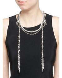 Venna | White Zircon Star Leaf Fringe Necklace | Lyst