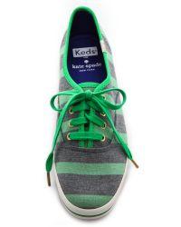 kate spade new york - Keds For Kate Spade Kick Striped Sneakers - Metropolis Green - Lyst