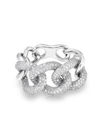 Anne Sisteron - Metallic 14kt White Gold Luxe Diamond Chain Link Ring - Lyst