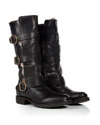 Fiorentini + Baker - Leather Buckled Boots In Black With Fur Trim - Lyst