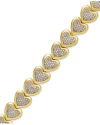 Macy's | Metallic Diamond Accent Heart Bracelet In 18K Gold Over Sterling Silver-Plated Bronze | Lyst