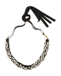 Isabel Marant | Metallic Gold-Tone, Crystal And Leather Necklace | Lyst