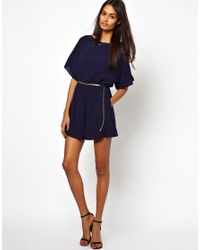 Little Mistress | Blue Playsuit with Open Back | Lyst