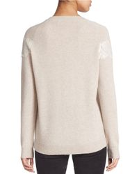 Lord & Taylor | Natural Lace Accented Cashmere Sweater | Lyst