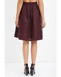 Forever 21 - Purple Shadow Stripe Mesh Skirt - Lyst