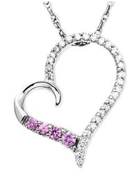 Macy's | 14k White Gold Pendant, Pink Sapphire (1/10 Ct. T.w.) And Diamond (1/8 Ct. T.w.) Heart | Lyst
