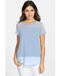 Vince Camuto | Blue Short Sleeve Mixed Media Top | Lyst