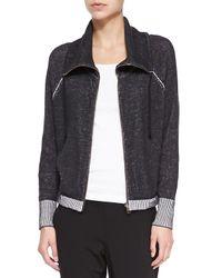 Eileen Fisher - Black Plaited Organic Cotton Jacket W/ Contrast Trim - Lyst
