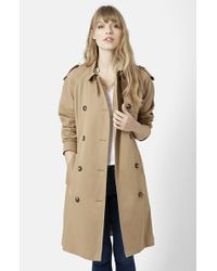 TOPSHOP - Natural Double Breasted Cotton Trench - Lyst