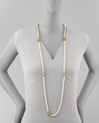 Tory Burch - White Evie Long Logo-station Pearly Necklace - Lyst