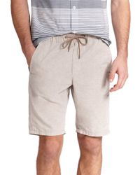 VINCE | Natural Chambray Drawstring Shorts for Men | Lyst