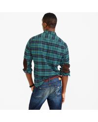 J.Crew | Green Cotton-wool Elbow-patch Shirt In Clark Plaid for Men | Lyst