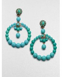 Oscar de la Renta | Blue Beaded Circle Earrings | Lyst